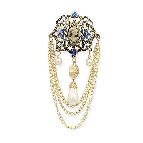 ZLININ Y-Longhair Tribunal Europeo y Americano Retro Broche, con Incrustaciones de Diamantes Broche de la Corona de Belleza, de Gran renombre Pasarela Cadena de la Perla, 14 * 5.8cm De Broche