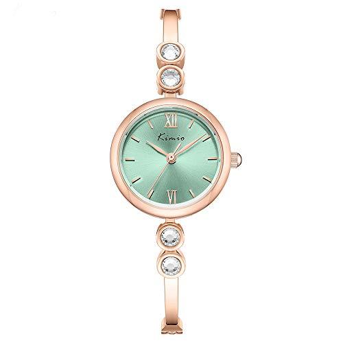 Kimio K6438 Uhr Damen Damenuhr Glitter Diamond Bracelet Style Skelettgürtel Life Waterproof Fashionable Cute Casual Quarzstahl Pendler Muttertagsuhr (Green)