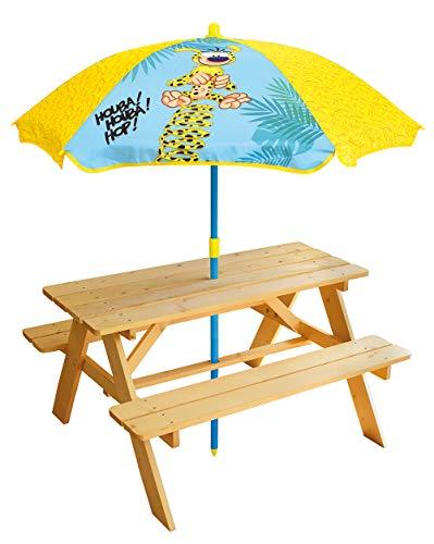 FUN HOUSE- MARSUPILAMI Table Pique-Nique H.53 X L.95 X P.75 cm avec Parasol H.125 X Ø 100 cm pour Enfant, 713460, Multicolor