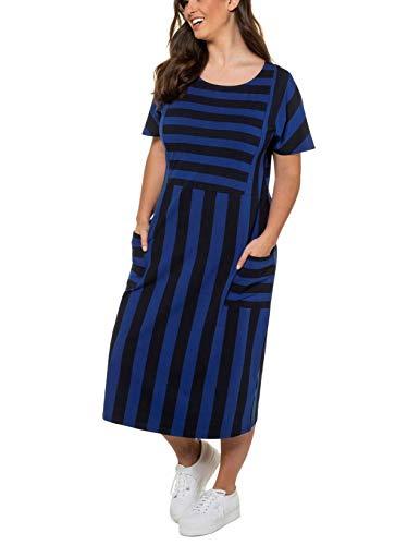 Ulla Popken Damen große Größen Jerseykleid Streifendesign Kleid, Blau (Marine 72742870), 54-56