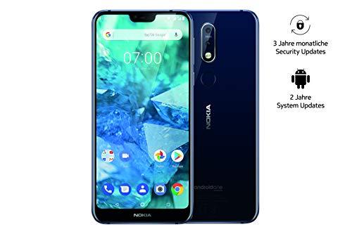 Nokia 7.1 Smartphone (15,38 cm (5,84 Zoll) Full HD Display, 32 GB interner Speicher, 3 GB RAM, Android 8.1, Dual Sim, inkl. Walther Schlüsselbundlampe) blau, exklusiv bei Amazon