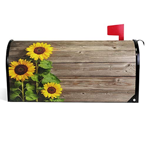 Wamika Beautiful Sunflowers Mailbox Cover Vintage Wood Board Mailbox Covers Magnetic Fall Autumn Flower Mailbox Wraps Post Letter Box Cover Garden Decor Standard Size 18