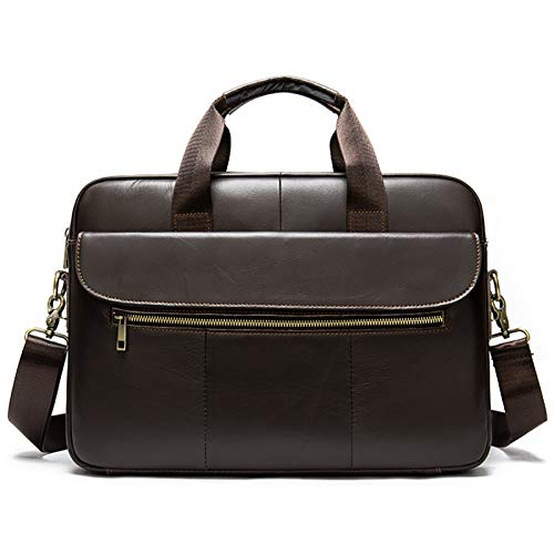 Yi-xir Bolso de piel para hombre de diseño de moda Echt para portátil, para documentos A4, de lujo, de piel, ligero y duradero (color: café, tamaño: A)