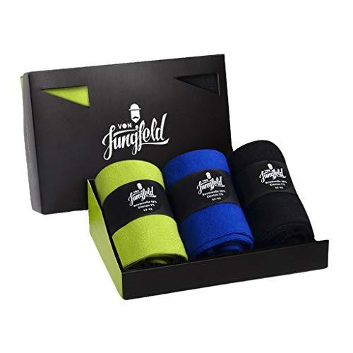 von Jungfeld - Herren Socken/Strumpf Herrensocken 3er-Pack 45-47 blau/grün/schwarz