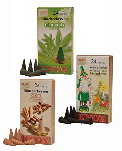 Imagen del productoKnox 013400 Cannabi - Conos de incienso (24 unidades, aroma a cannabis, canela y aroma navideño)