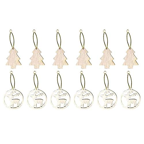 US Warehouse - Pendant & Drop Ornaments - 12PCS Wooden Christmas Decorations Wooden Pendants Ornaments Hanging Gift for Party Decor Tree Ornaments weihnachtsdekoration#35 - (Color: Olive)