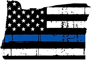 Oregon tattered thin blue line us flag honoring our men & women of law enforcement car symbol sticker decal die cut vinyl window computer - Made and Shipped in USA
