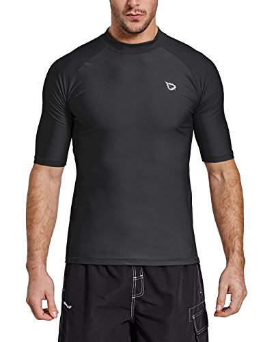 BALEAF Men's Short Sleeve Rashguard Swim Shirt UPF 50+ Sun Protection Rash Guard Black Size XL