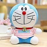 Muñeca Doraemon, Disfraz de Rayas Muñeca de Gato Doraemon, Juguete de Peluche Doraemon, Almohada Azul Grasa Rayas Rosas 33cm