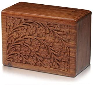 S.B.ARTS Beautifully Handmade & Handcrafted Tree Of Life Engraving Wooden Urns For Human Ashes Adult By Wooden Box (6 X 4 X 2.75) (Small)