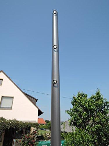 Sonnensegelmast anthrazit beschichtet 3m Ø60mm 3 Ösen 6030/4-3