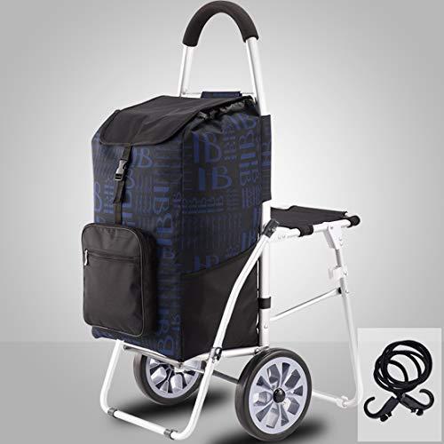 Verbesserter Einkaufstrolley Einkaufstrolley auf 3 Rädern faltbar kompakt mit abnehmbarer Tasche mit Sitz für Jung und Alt