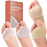 Metatarsal Pads Ball of Foot Cushions Kit - 8pcs- Metatarsal Gel Sleeves & Silicone Ball of Foot Pads - Great for Metatarsalgia, Bunion, Mortons Neuroma & Forefoot Pain Relief (Small)