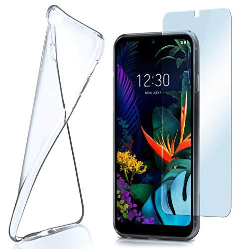 moex Aero Hülle mit Panzerglas für LG K50 - Hülle mit Schutzfolie, transparent - Crystal Clear