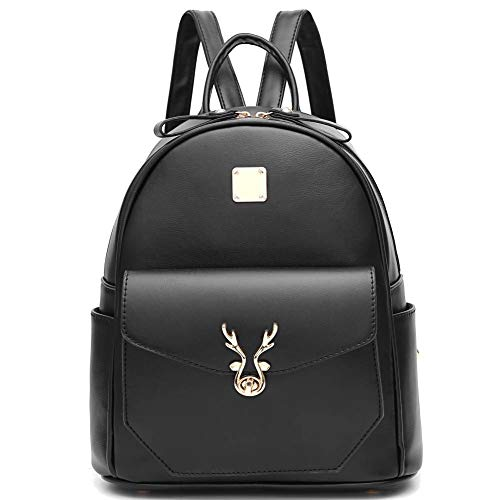 I IHAYNER Backpack Womens Girls Cute Leather Backpack Mini Backpack Purse for Women Black