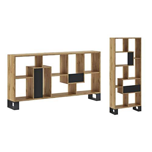 SelectionHome - Estantería, Librería de diseño para Salón, Comedor, Modelo Raw, Color Estructura Roble Oscuro, Medidas: 68,5 cm (Ancho) x 168 (Alto) cm x 25 cm (Fondo)