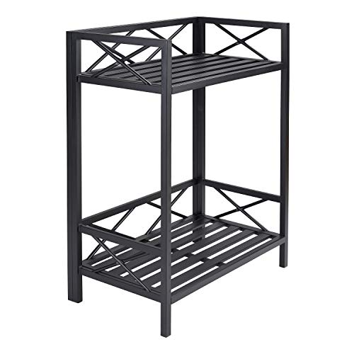 Erra- Potting Benches for Outside-Black 2-Shelf Potting Bench-Outdoor Potting Bench