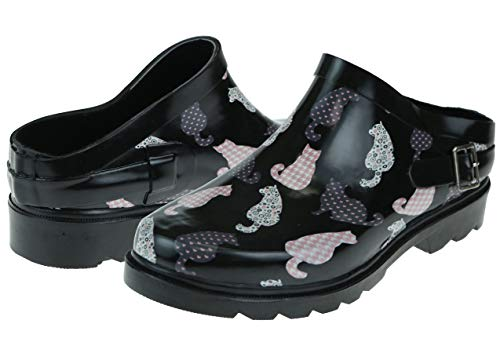 Capelli New York Shiny Fancy Cheetahs Printed with Back Strap Ladies Slip-On Rubber Rain and Gardening Clogs Black Combo Size 8