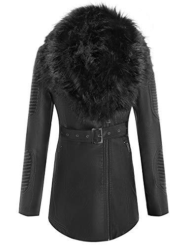 Bellivera kurze Kunstleder-Jacke für Damen, Moto Jacke mit abnehmbarem Kunstfellkragen Gr. Small, 912_black_leather_long
