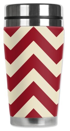 Mugzie Oklahoma Football Colors Chevron Travel Mug with Insulated Wetsuit Cover, Multicolor by Mugzie
