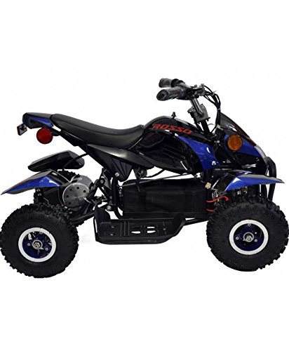 Rosso Motors Kids ATV Kids Quad 4 Wheeler Ride On with 500W 36V Battery Electric Power Lights in Blue Motorcycle for Boys, Disc Brake System for Child Safety