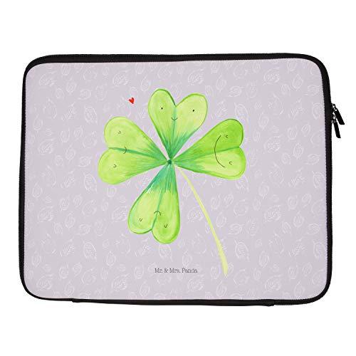 Mr. und Mrs. Panda Damen, Laptop, 27 x 36 Notebook Tasche Kleeblatt - Farbe Grau Pastell