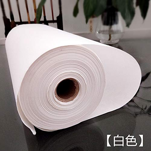 MEGREZ Writing Roll Xuan Paper Thickening Rice Sumi Paper for Practice Chinese Japanese Calligraphy without Grids - 35 cm x 100 m (13.78 x 3937 inch), Sheng (Raw) Xuan