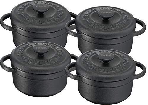 Tefal Pierre GAGNAIRE Heritage Set 4 Mini cocottes Fonte d'acier Rondes 10 cm / 0,3L Induction E223S404, Noir