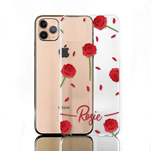 Personalised Initials Phone Case For Lenovo K8 Note (2017), Red Rose Print with Red Text on Clear Hard Phone Cover