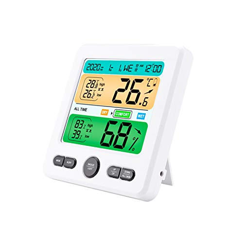 ABS Digital Alarm Clock with Temperature Humidity Meter Multifunctional Weather Station Versatile LCD Screen Hygrometer Thermometer for Bedroom Living Room Office