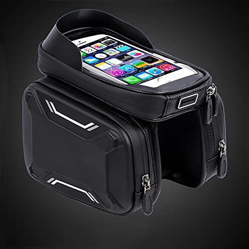 "Bike Front Bag,Bicycle Bag,Waterproof Bike Pouch Bag,Bike Touchscreen Phone Bag,Waterproof Bicycle Top Tube Pouch,bike Bag,bike Bags For Frame,Bike Frame Bag,for Android/iPhone Cellphones Under 6.5"""