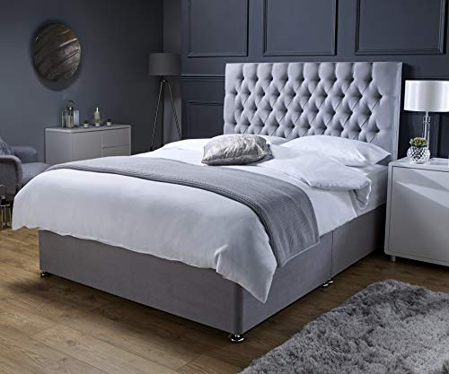 Revive Direct Premium - Grey Suede Small Double Bed with Mattress (Memory Foam Mattress), Designer Headboard and Chrome Feet - 2 Free Drawers Included - (4ft Small Double - 120cm x 190cm)
