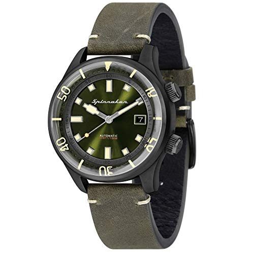 SPINNAKER Men's Bradner 42mm Green Leather Band Automatic Watch SP-5057-04