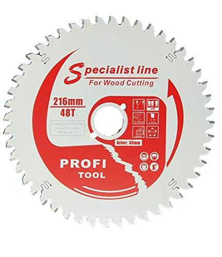 profi-tool-germany HM - Hoja de sierra (216 x 2,4 x 30 mm, 48 dientes WZ negativo, con revestimiento antiadherente)