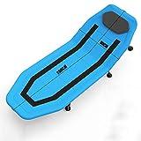 SXY-ZDTY Tumbona Tumbona Aluminio Plegable Tumbona Reclinable Colchón Desmontable Silla Plegable Playa Respaldo Ajustable con Almohada Desmontable Carga Máxima 300kg (Color : Blue)