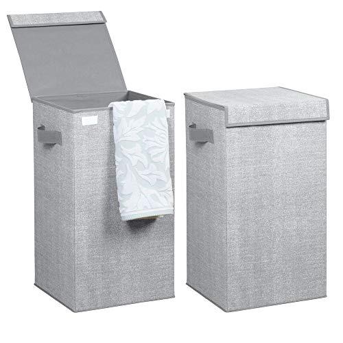 mDesign Juego de 2 cestos para ropa sucia en polipropileno transpirable – Cesto plegable para colada de diseño – Con tapa y asas – Bolsa para guardar ropa en el lavadero, baño o dormitorio – gris
