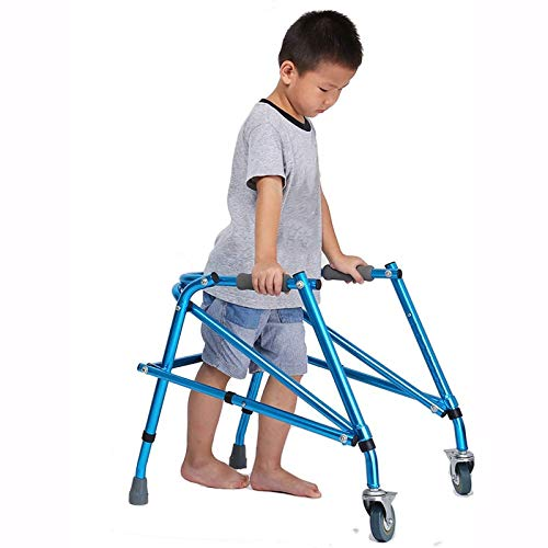 Blue Medical Folding Kids/Baby Walker on Wheels, Lightweight Stand Upright Walker for Kids with Cerebral Palsy/Disability, Adjustable Height