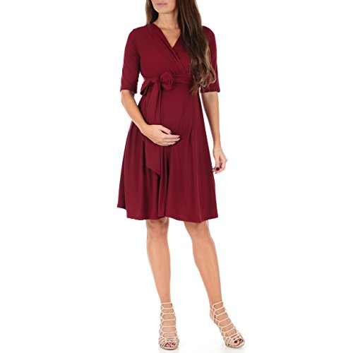 Mother Bee Maternity Women's Knee Length Wrap Dress with Belt for Baby Shower or Casual Wear (Burgundy, Large)