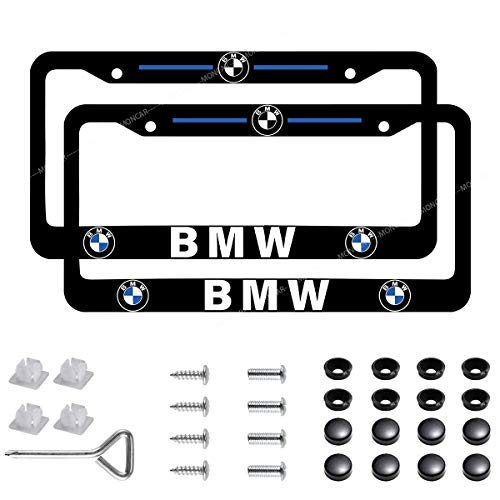 2-Pieces Newest Matte Aluminum Alloy License Plate Frame for BMW,Applicable to US Standard Car BMW Plate Frames,Protect and Personalize Your BMW License Plate Frame