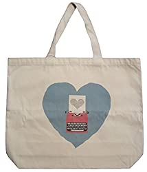 Tote bag with heart and typewriter on it