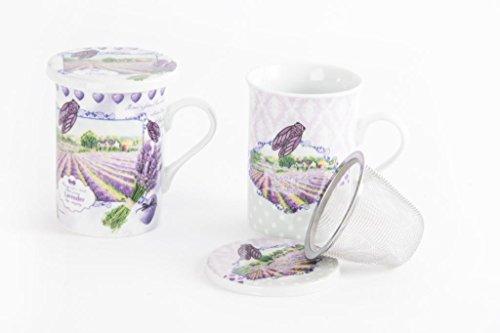 AVENUELAFAYETTE Mug Tasse à Infusion 320 ML Lavande - Provence avec Couvercle et Filtre INOX - Campagne - Vintage rétro