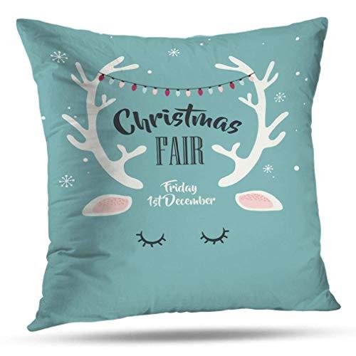 Babydo Throw Pillow Covers Deer Merry Christmas Greeting with Abstract Deer Zipper Hostel Patrón De Funda De Almohada Decorativa 45X45Cm Sofá De Vacaciones Hogar Acogedor Y Duradero Apar