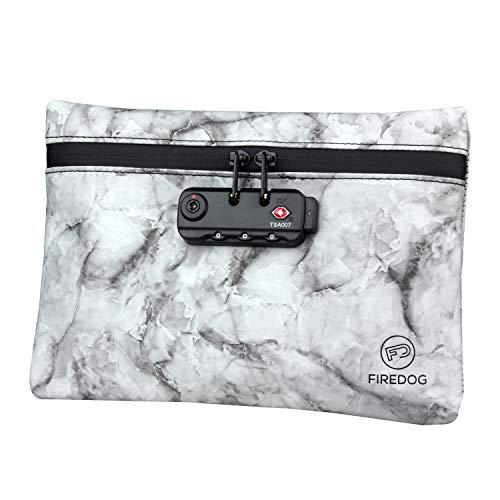 FIREDOG Geruchssichere Tasche mit Schloss, 15,2 x 22,9 cm, geruchsdicht, für Reisen, Aufbewahrungsbox, Marmorrot