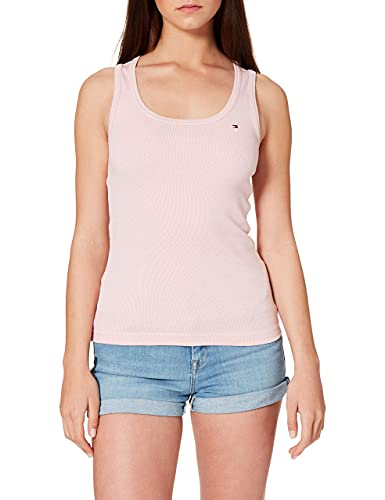 Tommy Hilfiger Slim Tank Top Camisa, Vertical Thin Knit STP/Sthng Pink, L para Mujer