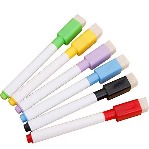 YUYDYU Rotulador magnético para Pizarra Blanca, borrable en seco con Borrador - Marcador de Pizarra Blanca 4PCS Multicolor para la Escuela y el hogar