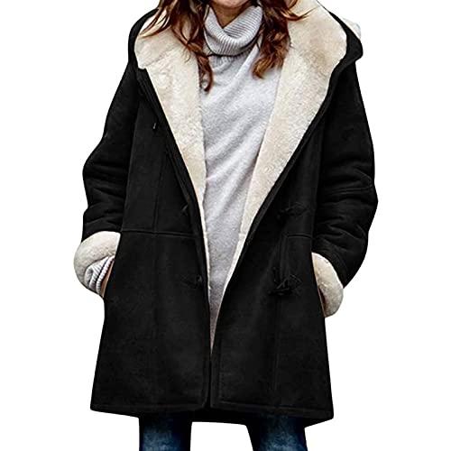 Yokbeer Plus Size Kurtki dla Kobiet,Damskie Zimowe Fuzzy Polarowe Kurtki z Kapturem Dorywczo Długi Rękaw Ciepły Sweter Płaszcz z Kieszeniami (Color : Black, Size : M)