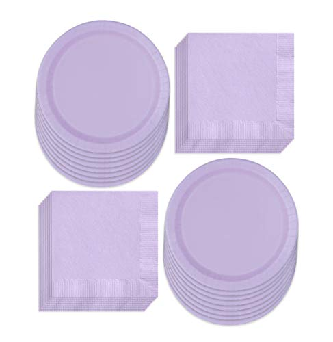 Solid Purple Paper Dinner Plates and Luncheon Napkins, Purple Party Supplies and Table Decorations (Serves 16)