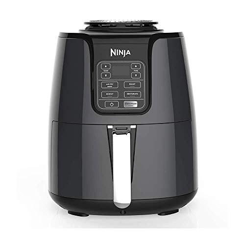 Ninja Fryer 1550-Watt Programmable Base for Air Frying, Roasting Reheating & Dehydrating with, 4-Quart Ceramic Coated Basket (AF100), Black/Gray (Renewed)