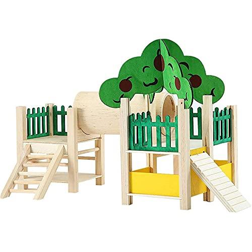 ANCLLO Maison et cachettes pour hamster - Aire de jeux - Villa avec tunnel en tube - Échelle d'escalade - Jouets en bois naturel - Clôtures et toits
