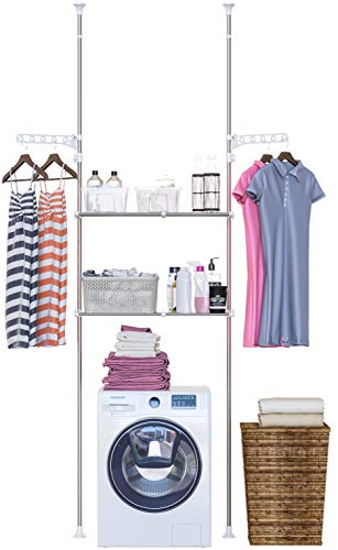Skywin Over The Washer Storage Shelf - Easy to Assemble Laundry Storage Laundry Shelf for Over Washer or Dryer with Adjustable Height and Width No Drill Required